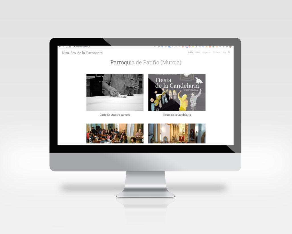 pantalla de monitor con la web de la Parroquia de patiño